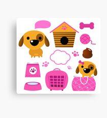 Cartoon pink set for baby dog : Pink Canvas Print