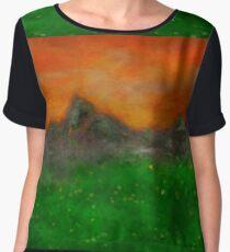 Orange and Green Mountain  Women's Chiffon Top