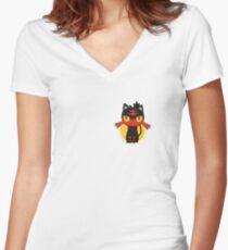 Pokemon Sun and Moon Litten Women's Fitted V-Neck T-Shirt