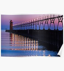 South Haven Lighthouse after Sundown with Reflections Poster