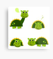 Cartoon dino collection illustration : green! Metal Print
