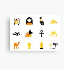Collection of Egypt icons - pyramids, scarab, anubis, camel Metal Print
