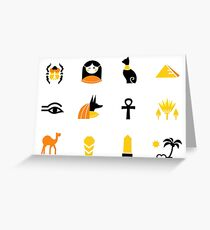 Collection of Egypt icons - pyramids, scarab, anubis, camel Greeting Card