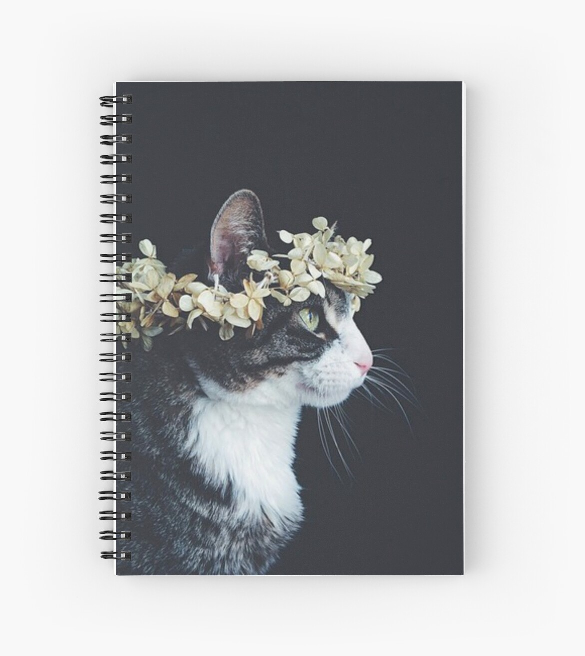 Flower Crown Kitty Cat Spiral Notebooks By Manic B Redbubble