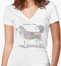 Anatomy of a Husky Women's Fitted V-Neck T-Shirt