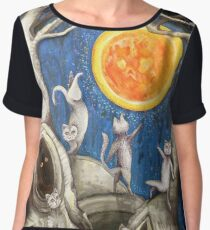 they dance under the light of the moon paper cut Women's Chiffon Top