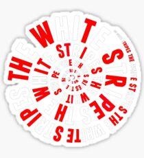 White Stripes Circle Sticker