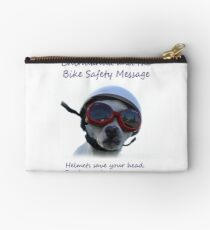 Chihuahua and the Bike Safety Message Tee and Sticker Studio Pouch