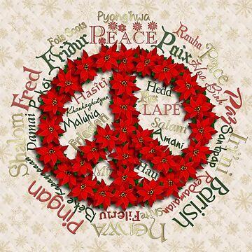 Peace Christmas Poinsettia Wreath by Lallinda
