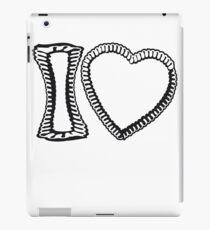 design schwarz i love ich liebe lebkuchenherz bayern blau weiß oktoberfest lecker essen leer schreiben ohne text rahmen umrandung herzform  iPad Case/Skin