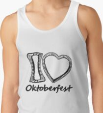 cool black oktoberfest i love i love gingerbread heart bavaria blue white delicious food blank writing without text frame outline heart shape design Tank Top
