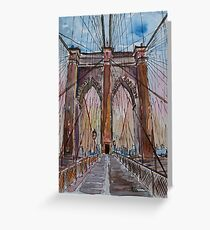 Brooklyn Bridge New York City - Cityscape - Watercolor Greeting Card