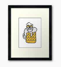 cool funny face alive comic cartoon thirst logo beer pitcher drinking drinking party celebrate drinking alcohol symbol cool shirt oktoberfest Framed Print