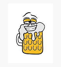 cool funny face alive comic cartoon thirst logo beer pitcher drinking drinking party celebrate drinking alcohol symbol cool shirt oktoberfest Photographic Print