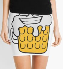 cool funny face alive comic cartoon thirst logo beer pitcher drinking drinking party celebrate drinking alcohol symbol cool shirt oktoberfest Mini Skirt