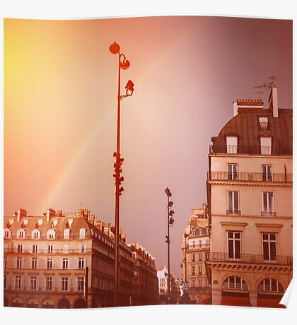 Paris Street View with Rainbow in the Sky After Rain Poster
