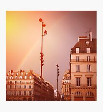 Paris Street View with Rainbow in the Sky After Rain Photographic Print
