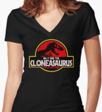 BILLY AND THE CLONEASAURUS Women's Fitted V-Neck T-Shirt