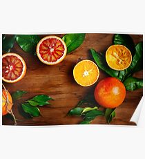 Still Life with Ripe Juicy Citrus Fruits Poster