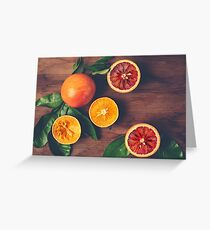 Still Life with Ripe Juicy Citrus Fruits Greeting Card