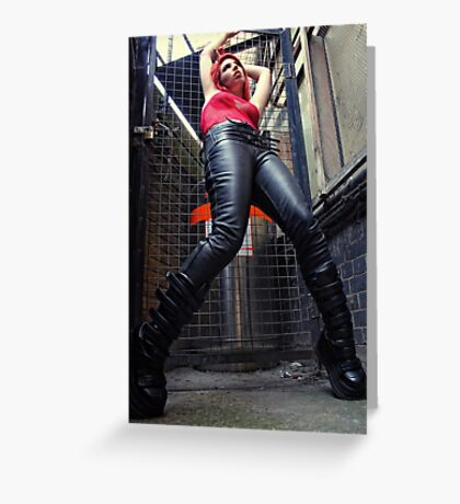leather boots Greeting Card