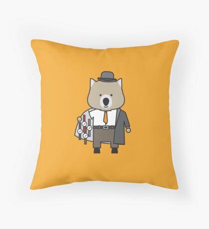 Warren the Watch Salesman Wombat Throw Pillow
