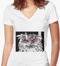Eurasian eagle-owl  Women's Fitted V-Neck T-Shirt