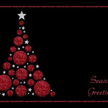 Red Glitter Christmas Tree - Season's Greetings by RumourHasIt