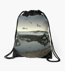 Poppit Sands beach, West Wales Drawstring Bag