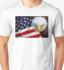 American bald eagle on american flag T-Shirt