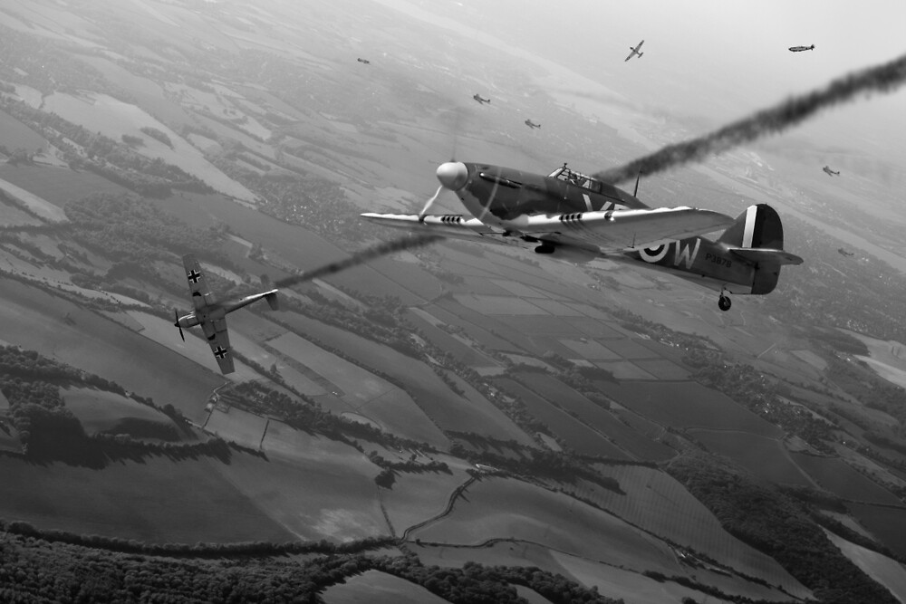 Battle of Britain dogfight B&W by Gary Eason
