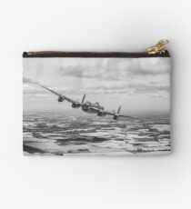 Home stretch: Lancaster over England, B&W version Studio Pouch