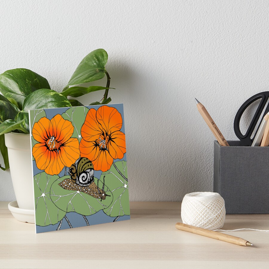Snail with Nasturtiums Art Board Print
