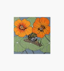 Snail with Nasturtiums Art Board Print