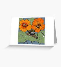 Snail with Nasturtiums Greeting Card
