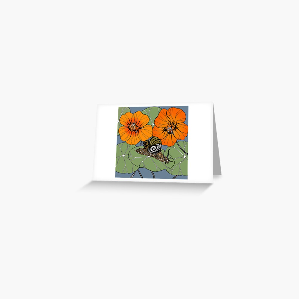 Snail with Nasturtiums Greeting Card