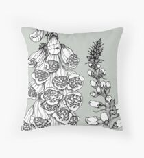 Foxgloves on Grey Background Throw Pillow