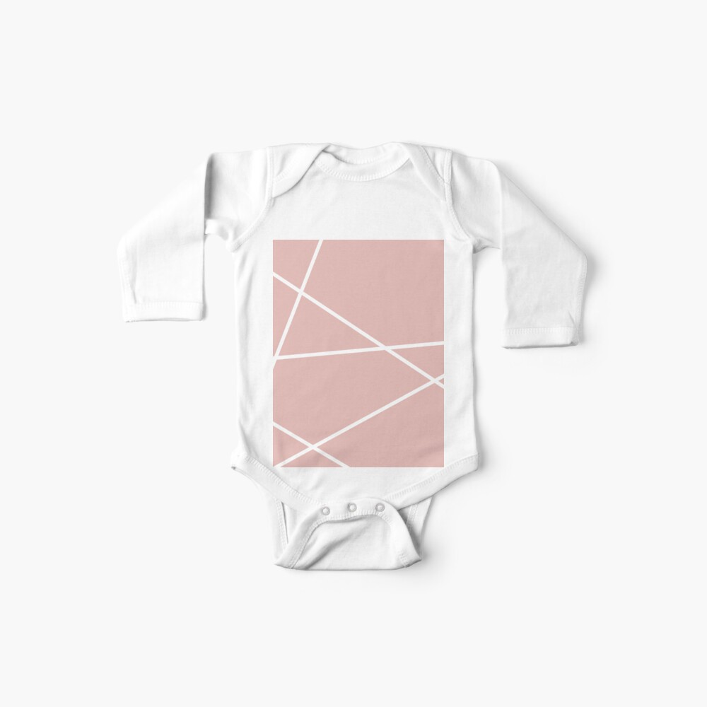 minimale Chic Blush rosa weiße Linien rosa geometrisches Muster Baby Body