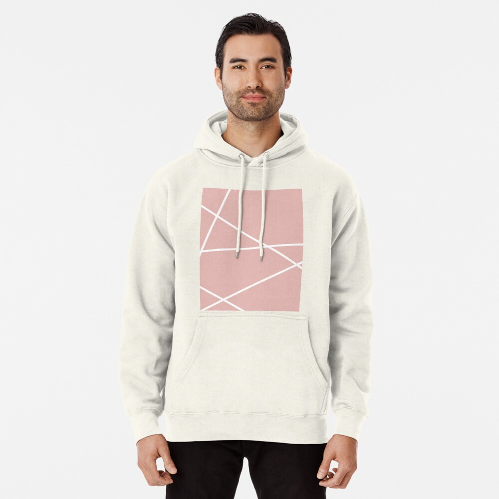 minimale Chic Blush rosa weiße Linien rosa geometrisches Muster Hoodie