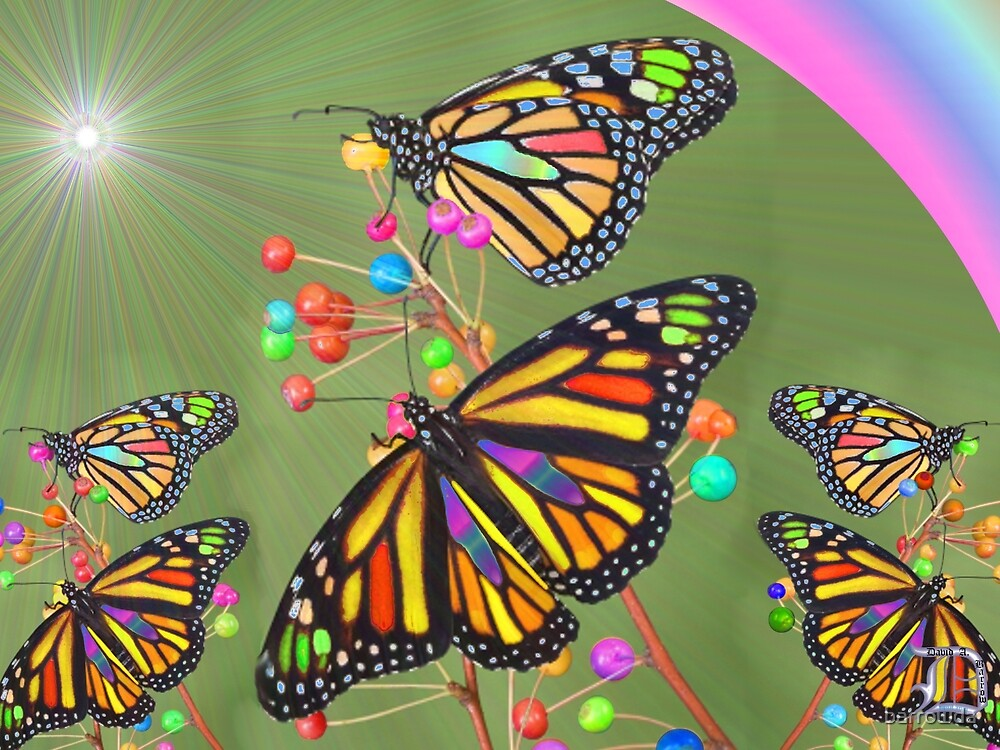 Stained Glass Butterflies Above Our Nation (G0936) by barrowda