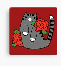 Red Rose Tabby Cat Canvas Print