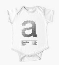 a .... Helvetica Neue (b) Short Sleeve Baby One-Piece