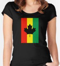 Rasta Reggae Maple Leaf Flag Women's Fitted Scoop T-Shirt