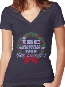 IBC Christmas Line Up Women's Fitted V-Neck T-Shirt