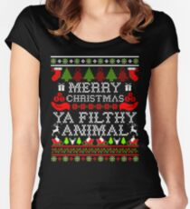 Christmas T-shirt - Merry Christmas Ya Filthy Animal Women's Fitted Scoop T-Shirt