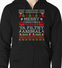 WeihnachtsT-Shirt - frohe Weihnachten Ya Filthy Animal Hoodie mit Reißverschluss