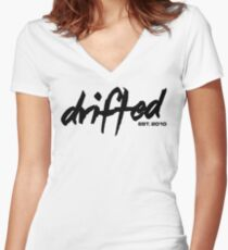 Drifted Classic Tee - White Women's Fitted V-Neck T-Shirt