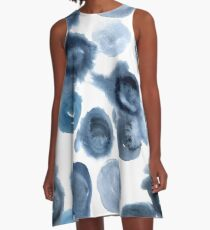 Abstract blue watercolor dye seamless pattern technique Shibori.  A-Line Dress
