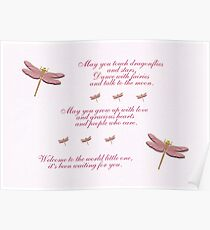 May You Touch Dragonflies and Stars Girl Poster