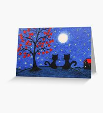 Cats in the Moonlight: Romantic Cats Silhouette with Moon and Stars Greeting Card